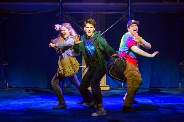 Kristin Stokes, Chris McCarrell, and George Salazar star in The Lightning Thief, directed by Stephen Brackett, at the Lucille Lortelle Theatre.