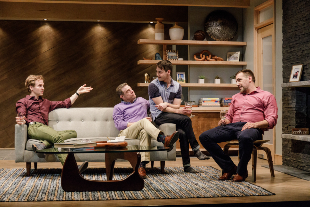 Ryan Spahn, Lou Liberatore, Leland Wheeler, and Matthew Montelongo sit around a Noguchi table and sip white wine in Daniel's Husband.