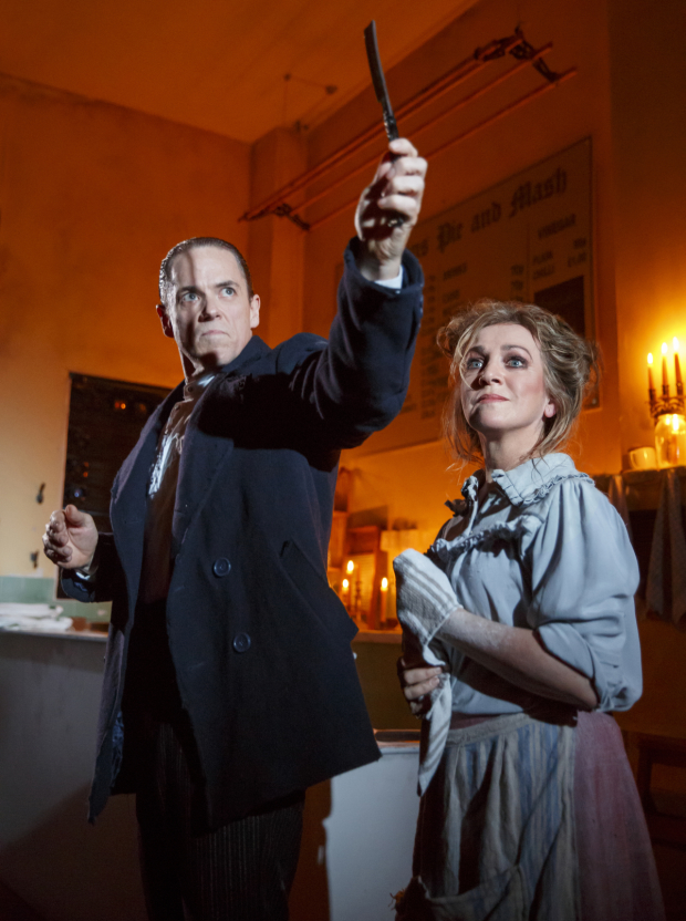 Jeremy Secomb and Siobhan McCarthy in Sweeney Todd at the Barrow Street Theatre.