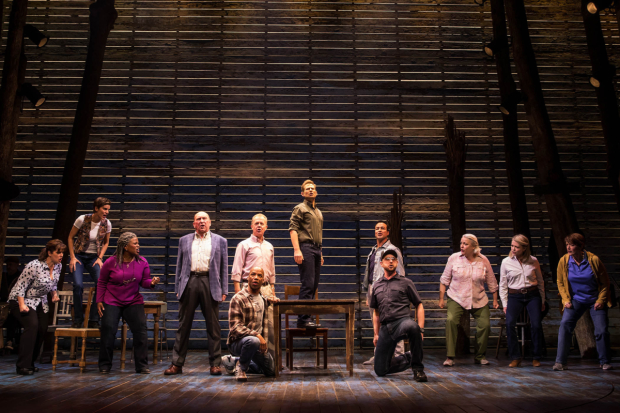 The cast of Come From Away at Broadway's Schoenfeld Theatre.