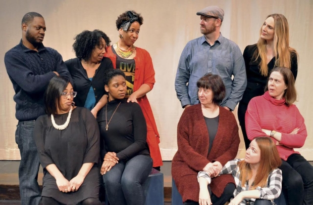 The cast of Robert O'Hara's Barbecue, directed by Summer L. Williams, at Lyric Stage Company of Boston.