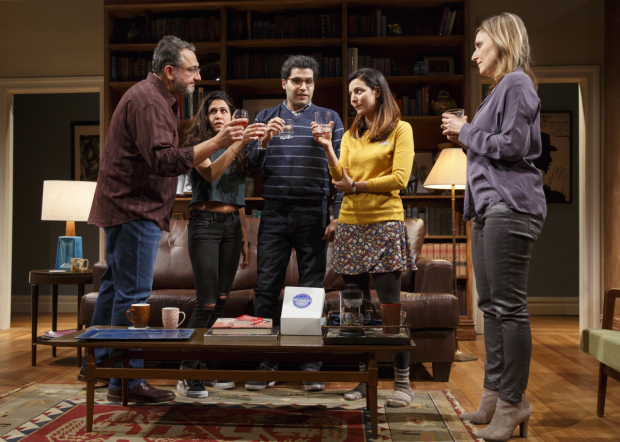 Ali Reza Farahnakian, Francis Benhamou, Babak Tafti, Tala Ashe, and Heather Raffo star in Zayd Dohrn's The Profane, directed by Kip Fagan, at Playwrights Horizons.