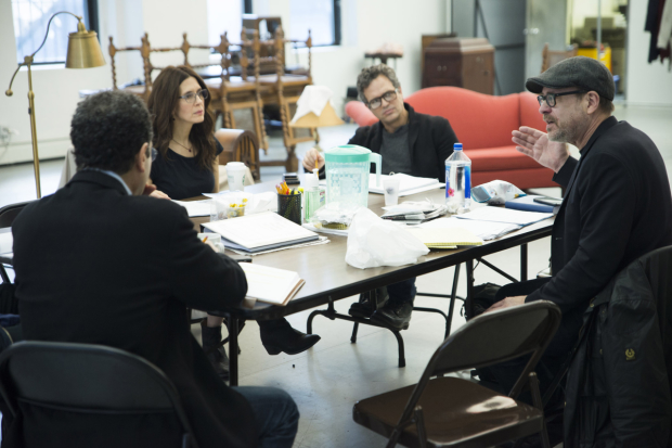 Terry Kinney with the cast in rehearsal.