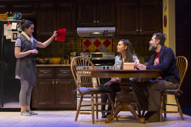 Aila Peck, Turna Mete, and Rom Barkhordar in The Who & The What, directed by M. Bevin O'Gara, at the Huntington Theatre Company.