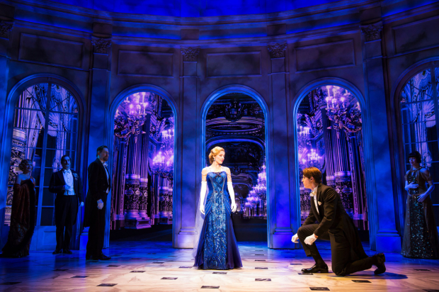 Christy Altomare and Derek Klena star in Anastasia, directed by Darko Tresnjak, at the Broadhurst Theatre.