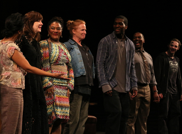 Lynn Nottage (third from left) on the opening night of Sweat on Broadway.