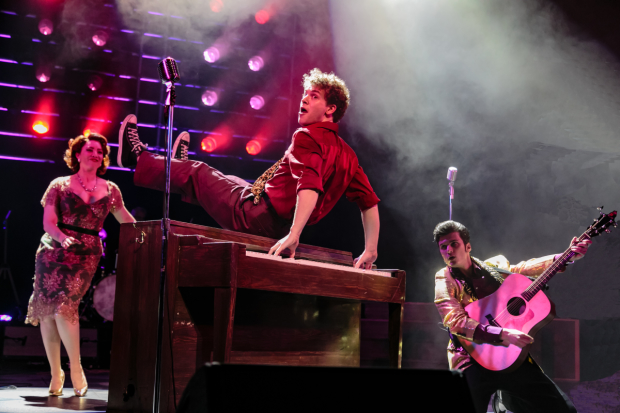 Nat Zegree as Jerry Lee Lewis in Million Dollar Quartet, directed by Hunter Foster, at Paper Mill Playhouse.