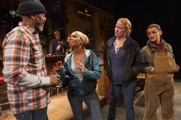John Earl Jelks, Michelle Wilson, Johanna Day, and Alison Wright in Lynn Nottage's Sweat at Studio 54.