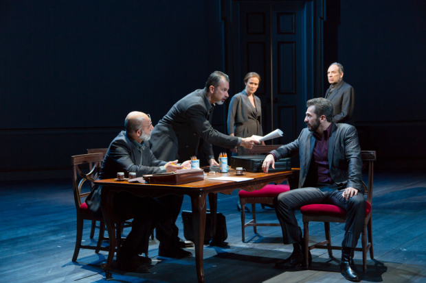Anthony Azizi, Dariush Kashani, Jennifer Ehle, Michael Aronov, and Daniel Oreskes star in J.T. Rogers' Oslo, directed by Bartlett Sher, at Lincoln Center theater's Vivian Beaumont Theater.