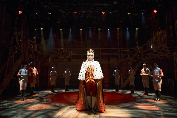 Brian d'Arcy James as King George in the Public Theater engagement of Hamilton.