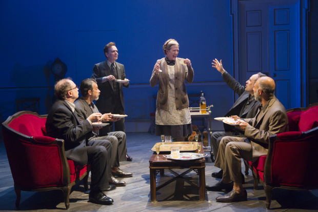 Daniel Jenkins, Dariush Kashani, Jefferson Mays, Henny Russel, Daniel Oreskes, and Anthony Azizi in a scene from Oslo.