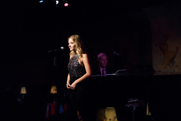 Music director Peter Kiesewalter accompanies Jackie Evancho on the piano at the Café Carlyle.