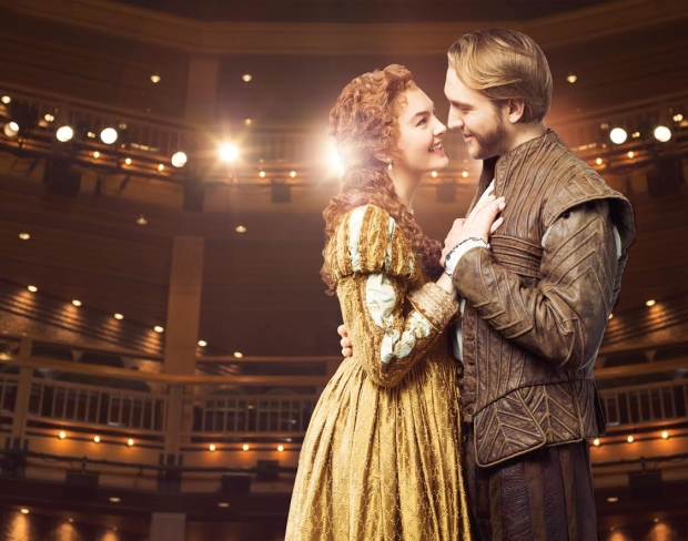 Kate McGonigle as Viola de Lesseps and Nick Rehberger as William Shakespeare in Chicago Shakespeare Theater's production of Shakespeare in Love, a stage adaptation of the Oscar-winning film, directed by Rachel Rockwell in CST's Courtyard Theater.