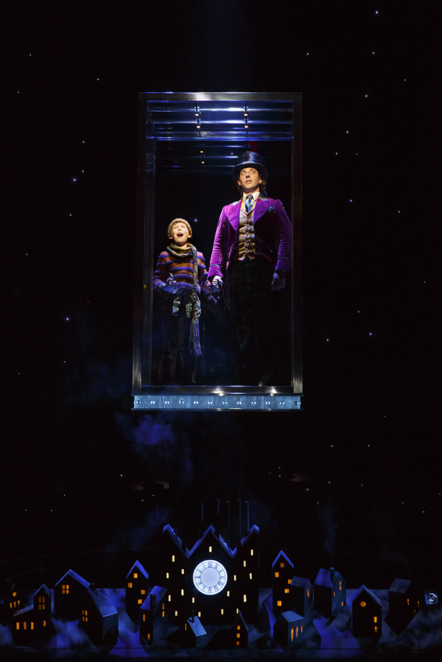 Jake Ryan Flynn and Christian Borle take a ride on the great glass elevator.