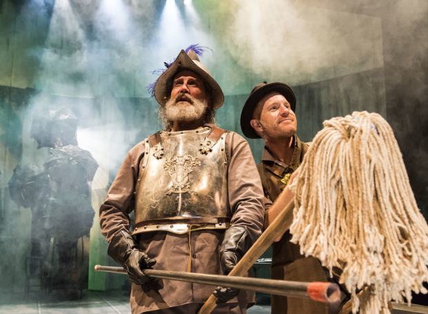 Geoff Elliott (Don Quixote) and Kasey Mahaffy (Sancho Panza) in Man of La Mancha, directed by Julia Rodriguez-Elliott, at A Noise Within.