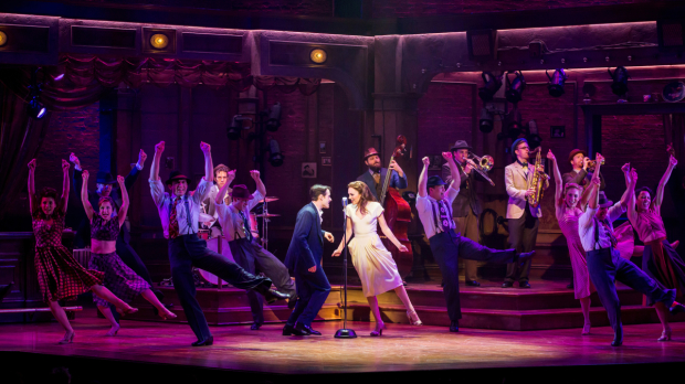 Corey Cott and Laura Osnes star in Bandstand, directed by Andy Blankenbuehler, at Broadway's Bernard B. Jacobs Theatre.