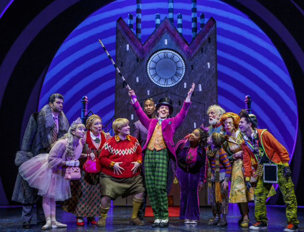 Jackie Hoffman (second from right) and the cast of Broadway's Charlie and the Chocolate Factory.