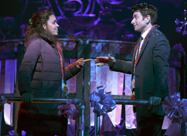 Barrett Doss and Andy Karl in Groundhog Day on Broadway.
