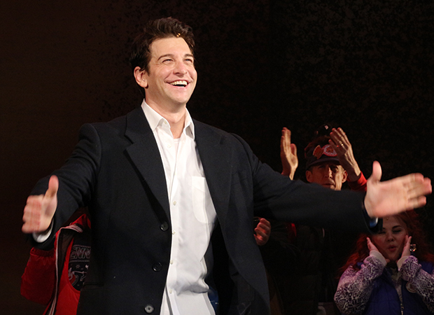 Andy Karl takes his bow as Groundhog Day opens on Broadway.