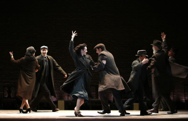 The company of Indecent onstage on Broadway.