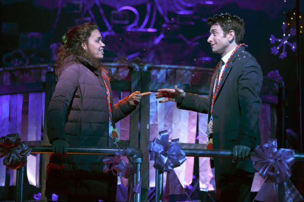 Barrett Doss and Andy Karl costar in Groundhog Day at Broadway's August Wilson Theatre.
