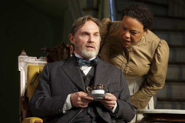 Richard Thomas plays Horace, and Caroline Stefanie Clay plays Addie in The Little Foxes at Broadway's Samuel J. Friedman Theatre.