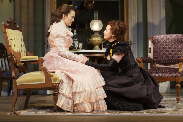 Francesca Carpanini plays Alexandra, and Cynthia Nixon plays Regina in The Little Foxes on Broadway.
