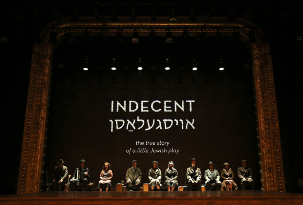 Matt Darriau, Aaron Halva, Lisa Gutkin, Richard Topol, Adina Verson, Katrina Lenk, Tom Nelis, Steven Rattazzi, Mimi Lieber and Max Gordon Moore, the company of Paula Vogel's Indecent, directed by Rebecca Taichman, at the Cort Theatre.