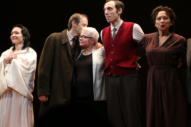 Paula Vogel's (center) Indecent, directed by Rebecca Taichman, plays at Broadway's Cort Theatre.