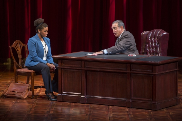 Edward Gero and Jade Wheeler in The Originalist, directed by Molly Smith, at the Pasadena Playhouse.