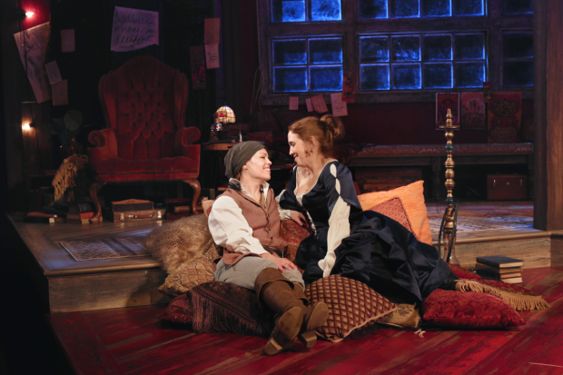 Erin Weaver as Nell Gwynne and Holly Twyford as Aphra Behn in Or, directed by Aaron Posner, at Round House Theatre.