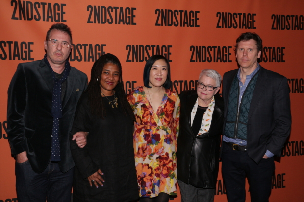 Jon Robin Baitz, Lynn Nottage, Young Jean Lee, Paula Vogel, and Will Eno pose for photos.