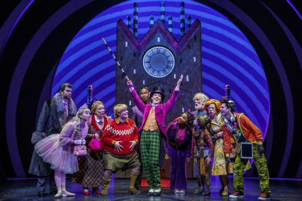 Ben Crawford, Emma Pfaeffle, Kathy Fitzgerald, F. Michael Haynie, Alan H. Green, Christian Borle, Trista Dollison, John Rubinstein, Ryan Foust, Jackie Hoffman, and Michael Wartella star in Charlie and the Chocolate Factory, directed by Jack O'Brien, at Broadway's Lunt-Fontanne Theatre.