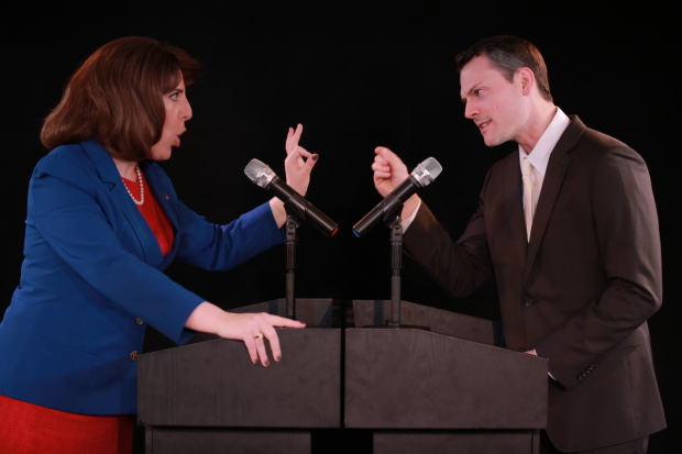 Rachel Tuggle Whorton and Daryl Embry star in Maria Guadalupe and Joe Salvatore's Her Opponent, directed by Salvatore, at the Jerry Orbach Theater.