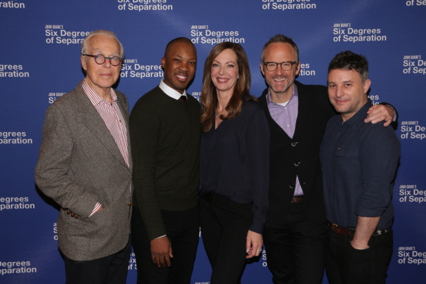 John Guare (left) and Trip Cullman (right) with cast members Corey Hawkins, Allison Janney, and John Benjamin Hickey.