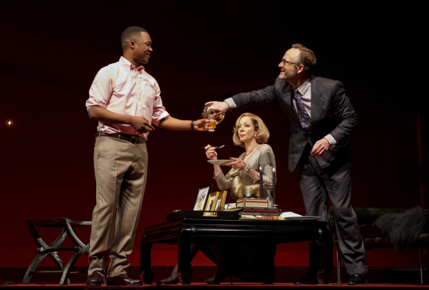 Corey Hawkins, Allison Janney, and John Benjamin Hickey in the Broadway revival of Six Degrees of Separation.