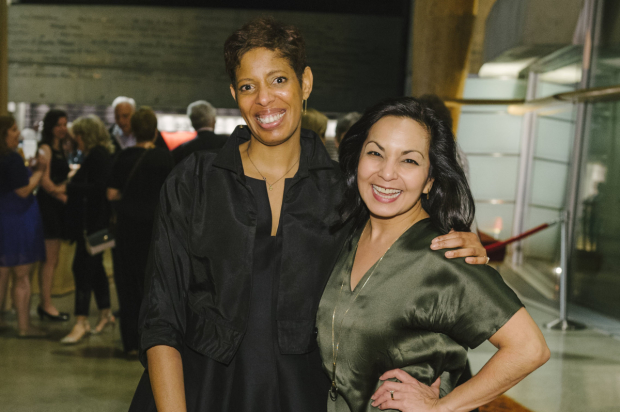 Playwright Lyrida R. Diamond and director Seema Sueko celebrate opening night of Smart People at Arena Stage.