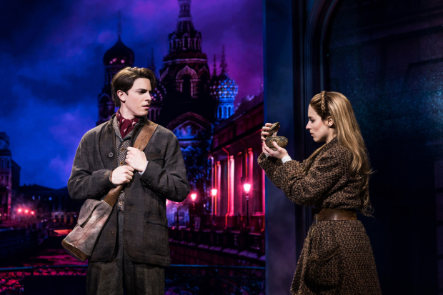 Derek Klena and Christy Altomare star in Anastasia, directed by Darko Tresnjak, at Broadway's Broadhurst Theatre.