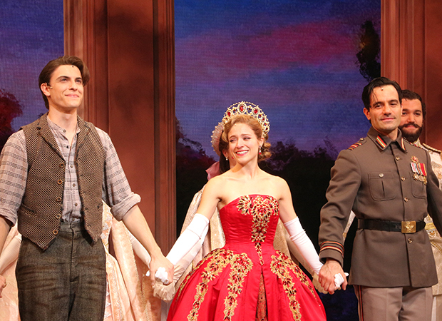 Derek Klena, Christy Altomare, and Ramin Karimloo take a bow on opening night of Anastasia at the Broadhurst Theatre.