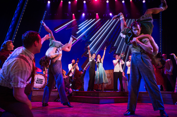 Corey Cott and Laura Osnes (center) star in Bandstand, directed by Andy Blankenbuehler, at the Bernard B. Jacobs Theatre.
