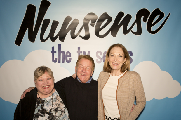 Mary Stout, Dan Goggin, and Dee Hoty celebrate the premiere of Nunsense: The TV Series.