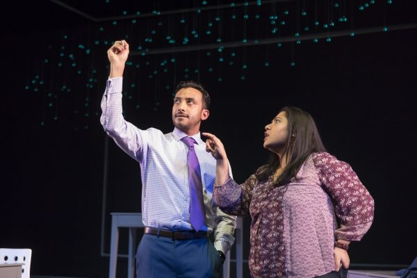 Adam Poss and Priya Mohanty in Queen, directed by Joanie Schultz, at Victory Gardens Theater.