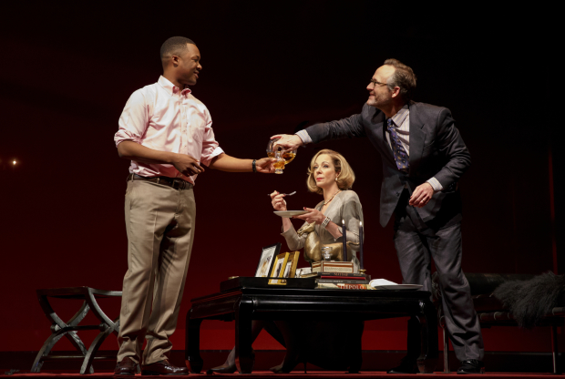 Corey Hawkins, Allison Janney, and John Benjamin Hickey in the Broadway revival of John Guare's Six Degrees of Separation, directed by Trip Cullman, at the Ethel Barrymore Theater.