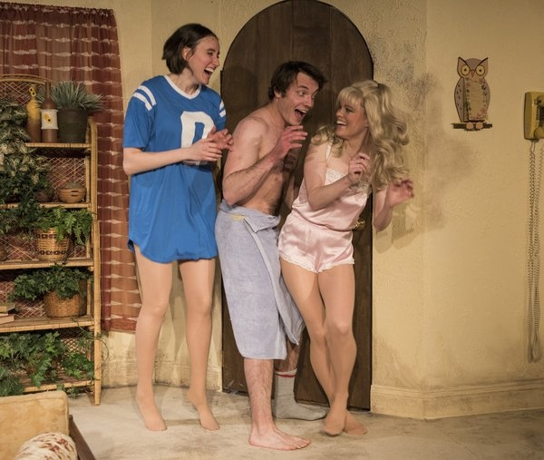 Christina Gorman (Linda), Nick Mikula (Brad), and Sigrid Sutter (Connie) in David Adjami's 3C, directed by Shade Murray, at A Red Orchid Theatre.