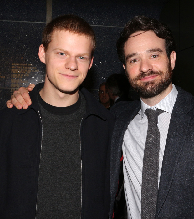 Lucas Hedges and Charlie Cox celebrate their Lucille Lortel Award nominations.