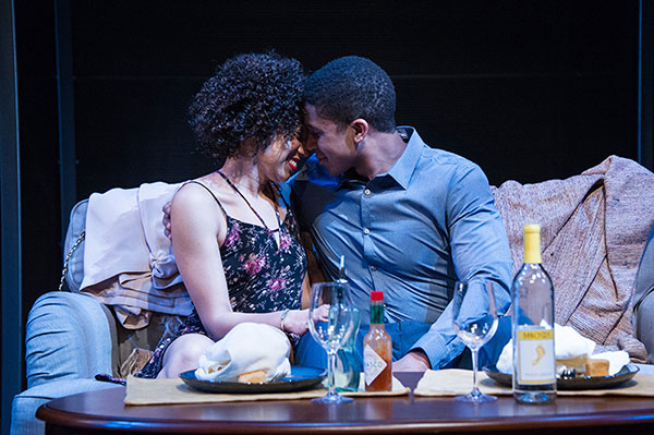Lorene Chesley and Jaysen Wright in Lydia R. Diamond's Smart People, directed by Seema Sueko, at Arena Stage.