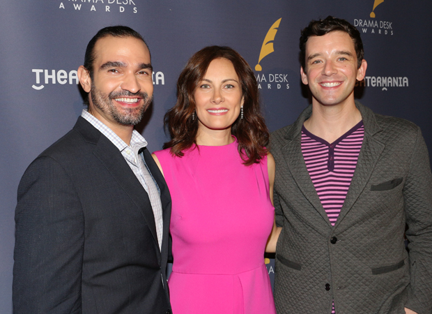 Javier Muñoz, Laura Benanti, and Michael Urie celebrate the announcement of the 2017 Drama Desk Award nominations,