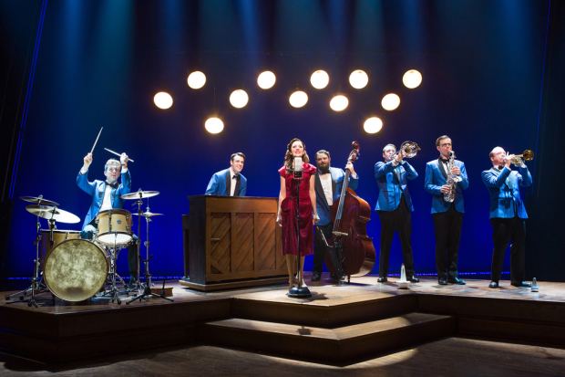 Joe Carroll, Corey Cott, Laura Osnes, Brandon J. Ellis, Geoff Packard, James Nathan Hopkins, and Alex Bender star in Bandstand, directed by Andy Blankenbuehler, at Broadway's Bernard B. Jacobs Theatre.