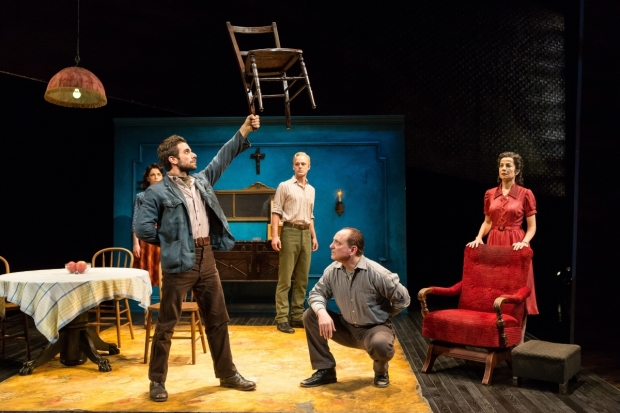 The cast of Alley Theatre's production of Arthur Miller's A View From the Bridge, directed by Gregory Boyd, at the Hubbard Theatre.