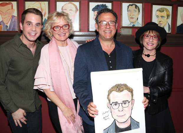 Ben Platt, Christine Ebersole, Michael Grief, and Patti LuPone pose with Greif's caricature.